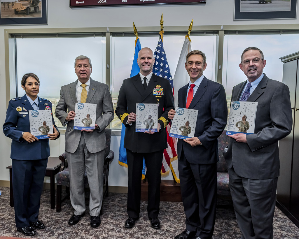 Left to right: Army Col. Janette Ketchum, Chief of Staff; Mark Brown, Acquisition Executive; Navy Rear Adm. John Palmer, Commander; Ken Watson, Deputy Commander; and Griff Warren, Director of Operations.