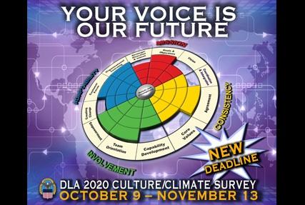 The 2020 DLA Culture Climate Survey starts October 9, 2020.