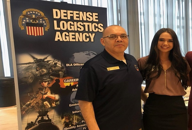 DLA Land and Maritime Intern Program Manager poses with Jessica Ruffing at the 2019 OSU Spring Career Fair. She was one of 50 potential applicants whom visited the booth over the four-hour period on January 28, 2019.