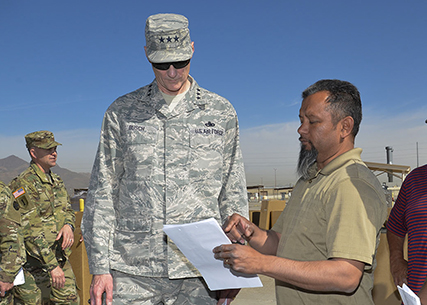 Defense Logistics Agency Director Air Force Lt. Gen. Andy Busch witnessed part of the divestiture of Army property over to DLA Distribution and DLA Disposition Services during his April 5 visit to Fort Bliss, Texas, one of the first sites to start the process.