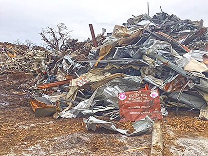 An estimated 15 million pounds of scrap need removal from Tyndall Air Force Base in Florida after Hurricane Michael.