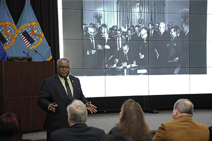 Defense Logistics Agency employees gathered in in the Hart-Dole-Inouye Federal Center Feb. 7 for a belated commemoration of the life of Dr. Martin Luther King Jr.