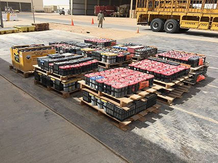 After more than a year, lead acid batteries used to support U.S. operations in Oman are being disposed of again thanks to new capabilities there and teamwork between two of the Defense Logistics Agency's major subordinate commands.