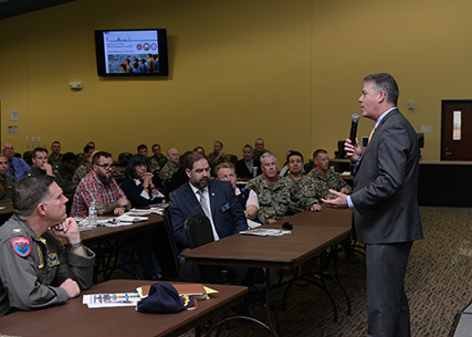 Senior leaders for DLA Disposition Services joined Thomas W. Harker, assistant secretary of the Navy for financial management and comptroller, and Navy Vice Adm. Dixon Smith, deputy chief of naval operations, fleet readiness and logistics, for their audit roadshow March 27 and 28.