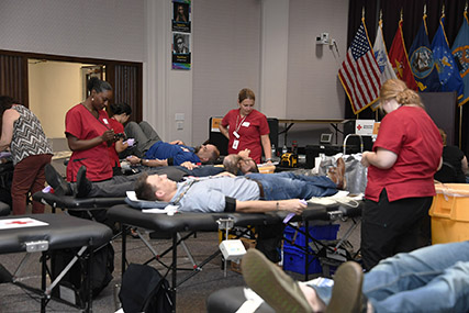 "The call went out to employees – ""Emergency Blood Shortage: Red Cross blood & platelet donors needed now"" – and they responded by rolling up their sleeves for an Aug. 7 blood drive at the Hart-Dole-Inouye Federal Center."