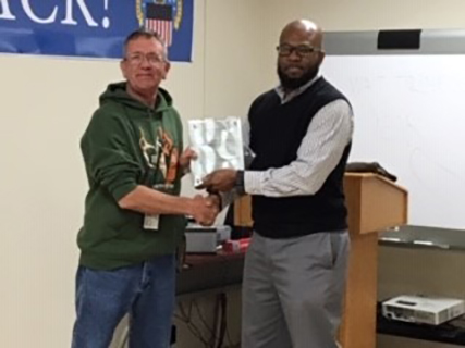 A Defense Logistics Agency employee at a Georgia site was honored recently by the Veterans Affairs for his effort assisting their staff in getting useable items to homeless veterans who can really use them.