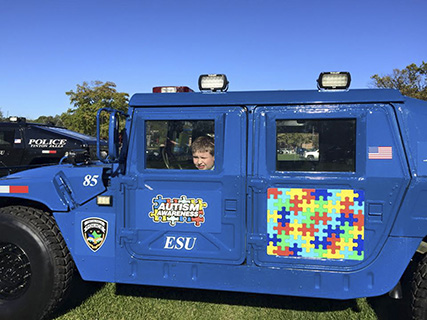 A New Jersey police department is helping promote autism awareness among first responders and others by using Humvees acquired through DoD's Law Enforcement Support Office program, which DLA Distribution Services administers.