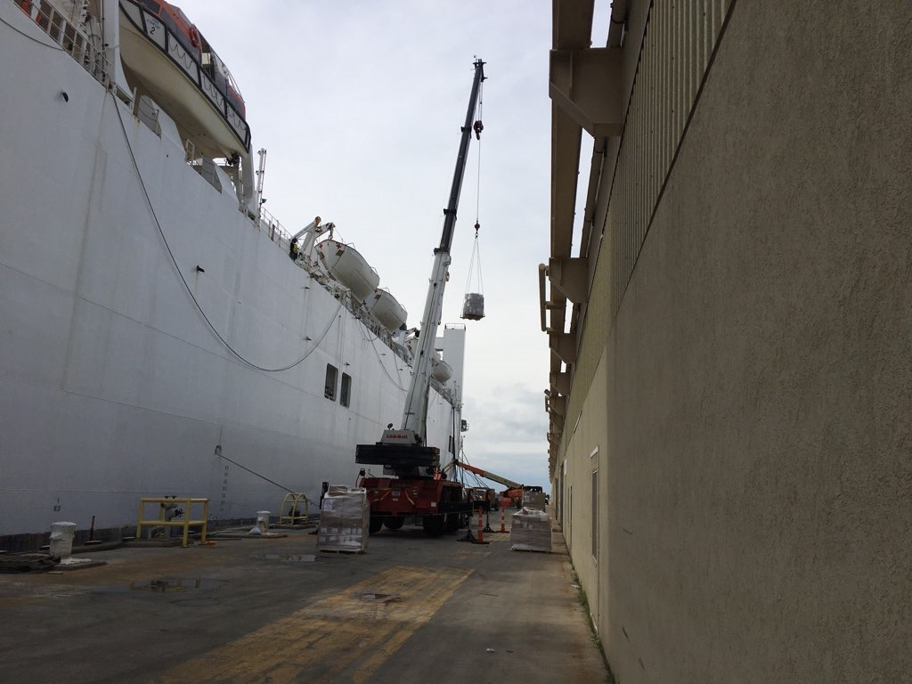 DLA Norfolk, Virginia loads medical supplies for shipment aboard the Military Sealift Command's hospital ship USNS Comfort