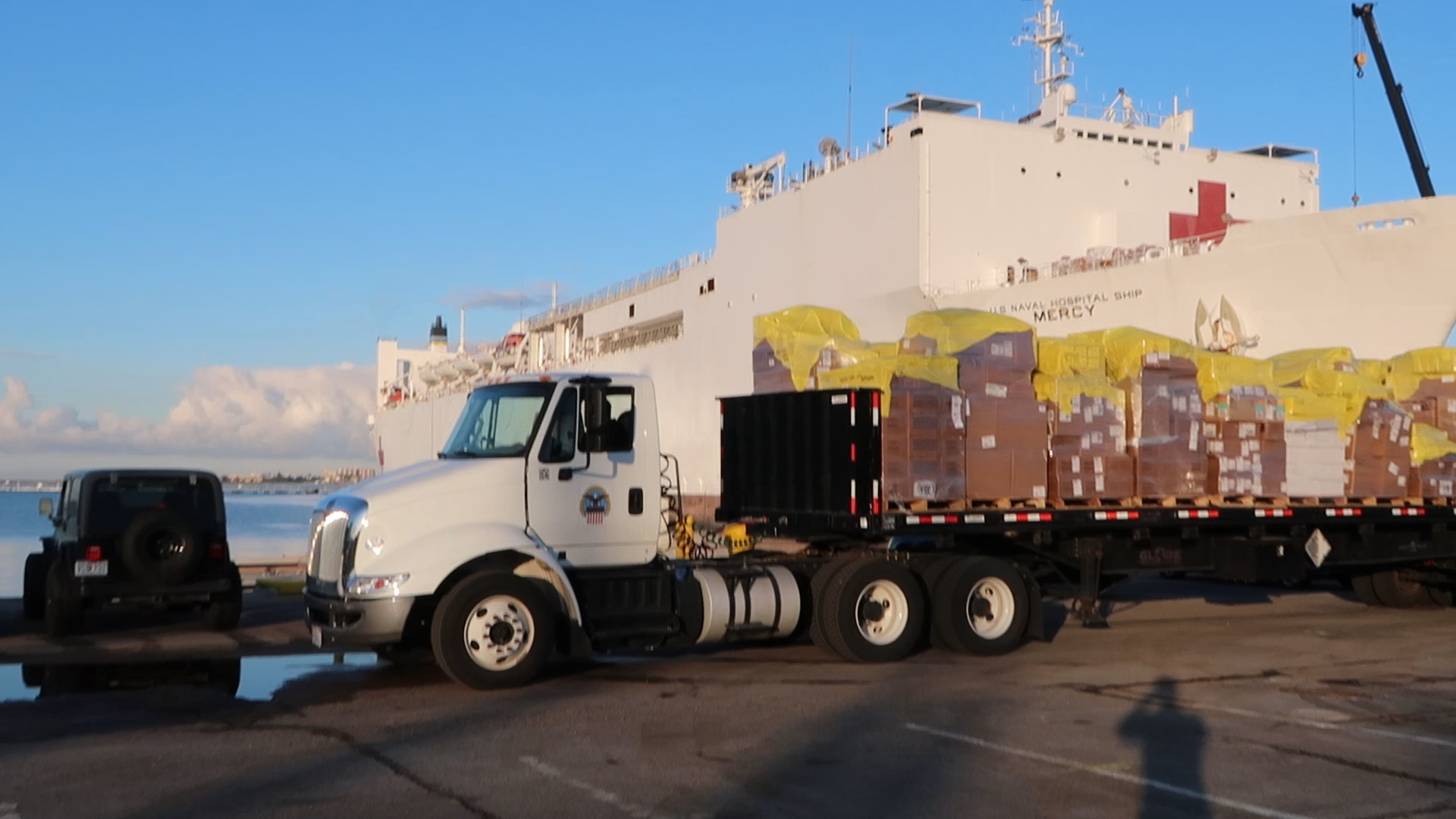 Defense Logistics Agency Distribution San Diego, California loads up Navy hospital ship for COVID-19 response