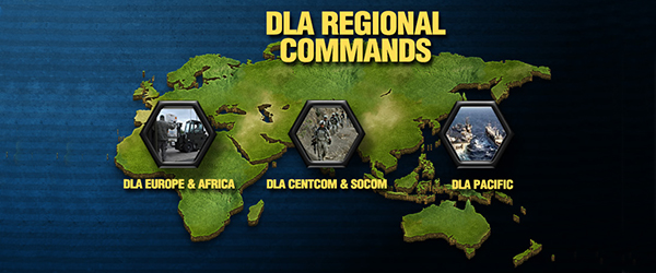 Icons representing DLA regional commands are placed on a map corresponding to where they are located around the world