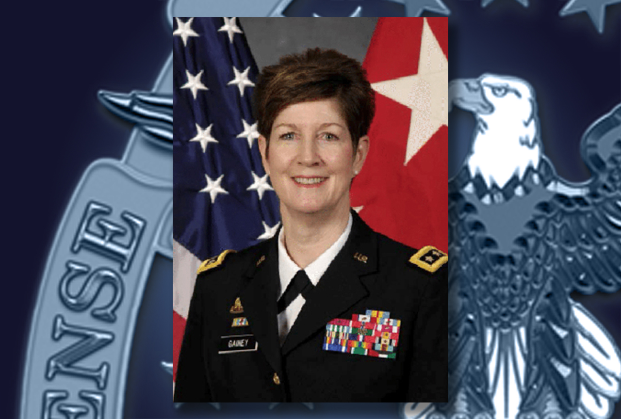 A portrait of Army Lt. Gen. Kathleen Gainey on a DLA background