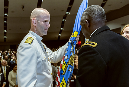 Logistics center welcomes new leader, promotes outgoing commander to second star