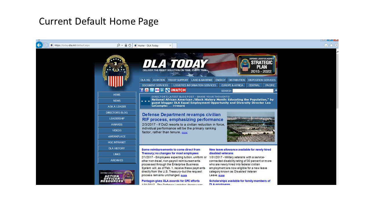 DLA Today Homepage Screen Shot