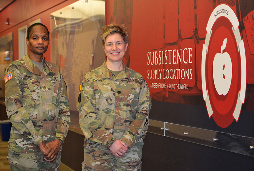 Army Maj. Janas Gray, left, and Army Lt. Col Erin Haverly, right, are two veterinarians assigned to the DLA Troop Support Subsistence supply chain. The veterinarians are responsible for ensuring food consumed in military facilities across the world is safe for the warfighter and their family members.