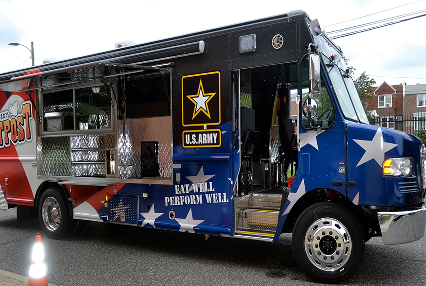 The Army's newest food truck stopped at DLA Troop Support in Philadelphia on July 9, 2019. This is one of six state-of-the-art food trucks purchased by DLA Troop Support for the Army's Joint Culinary Center of Excellence.