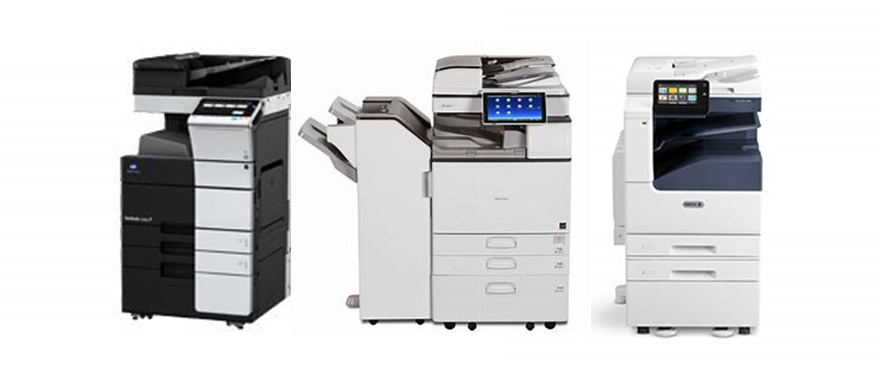 Three multifunction printer, scanner, and copier devices