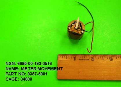 6695-001930516, P/N 0357-5001: METER MOVEMENT