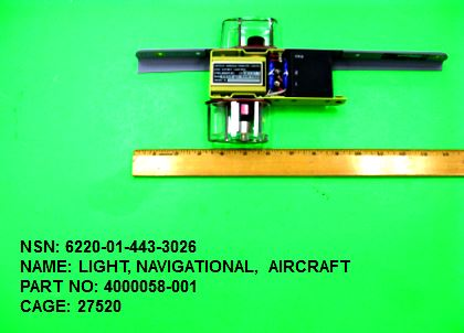 6220-014433026, P/N 4000058-001: LIGHT, NAVIGATIONAL, AIRCRAFT