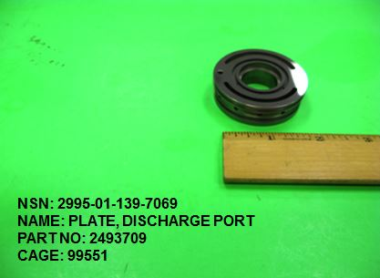 2995-011397069, P/N 2493709: PLATE, DISCHARGE PORT