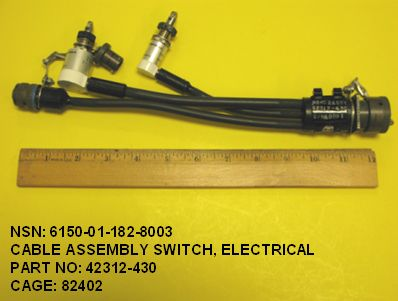 6150-011828003, P/N 42312-430: CABLE ASSEMBLY-SWITCH, ELECTRICAL