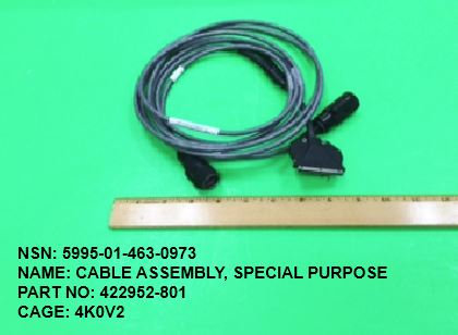 5995-014630973, P/N 422952-801 : CABLE ASSEMBLY, SPECIAL PURPOSE