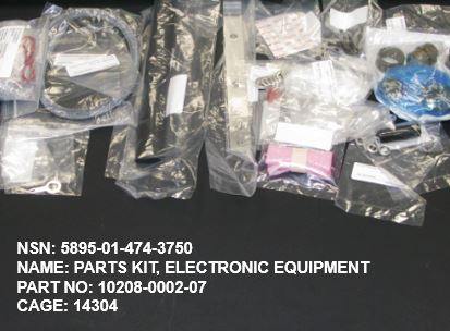 5895-014743750, P/N 10208-0002-07 : PARTS KIT, ELECTRONIC EQUIPMENT