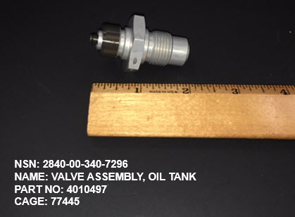Main Photo - 2840-003407296, P/N 4010497 : VALVE ASSEMBLY, OIL TANK