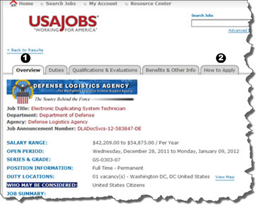 screenshot of USA Jobs website