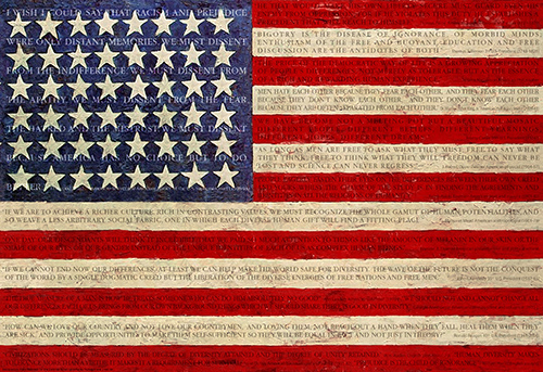 American Flag with quotes from historical advocates of equality superimposed over the image.