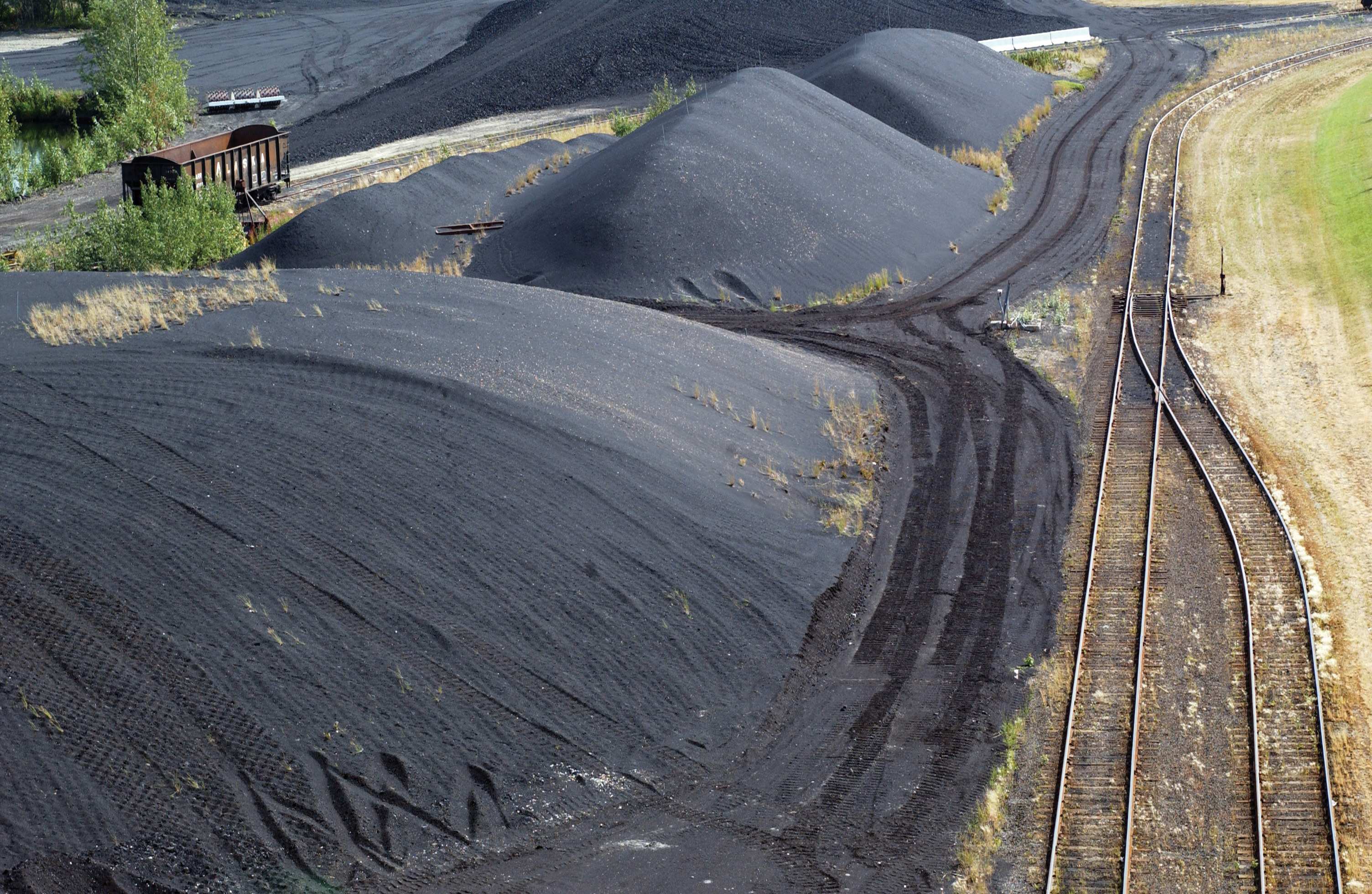 A coal stockpile at Eielson Air Force Base in Alaska