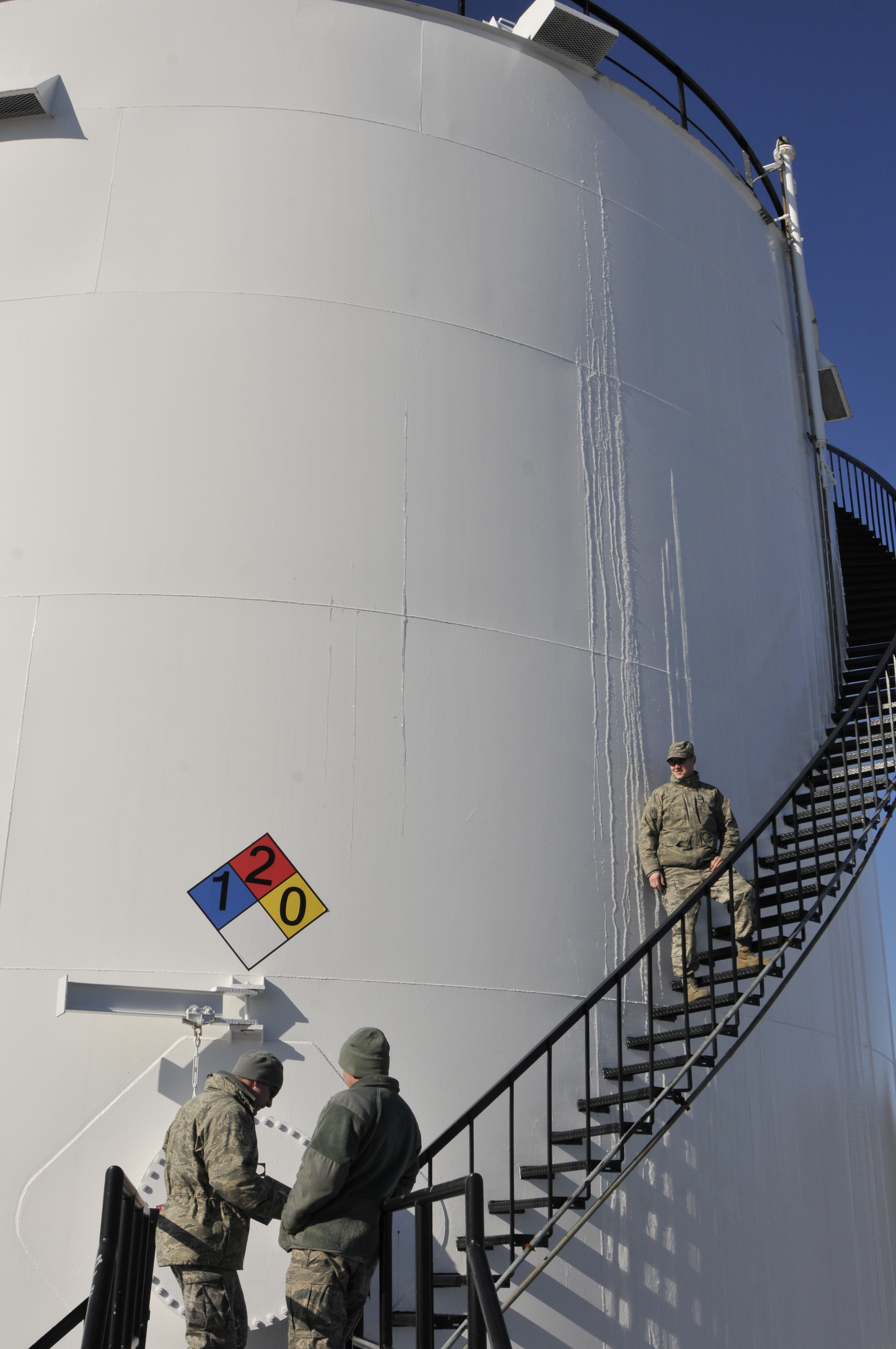 DLA Energy procured the fuel in this Bangor, Maine, fuel tank being inspected