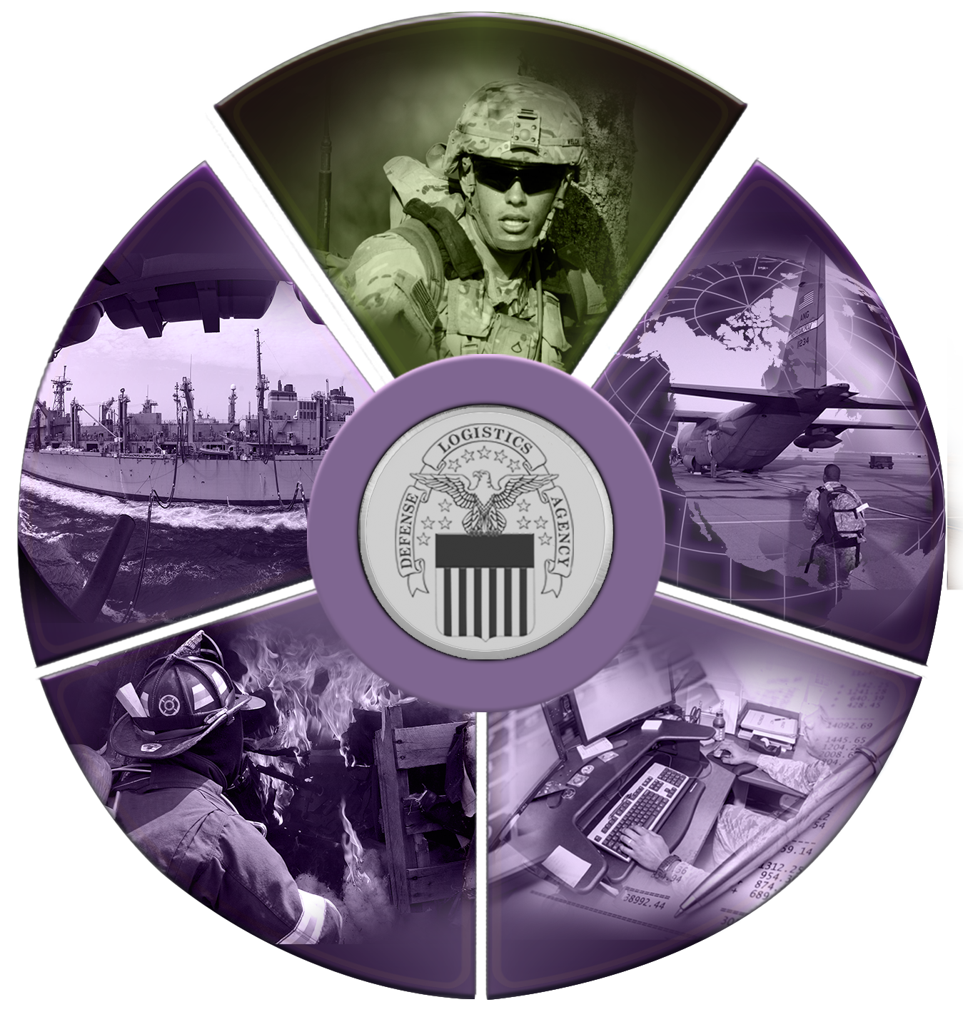 The Strategic Plan emblem with five slices of a wheel representing military missions