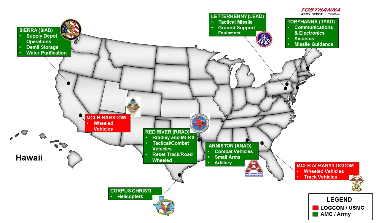 May of USA with LOGCOM/USMC and AMC/Army Locations