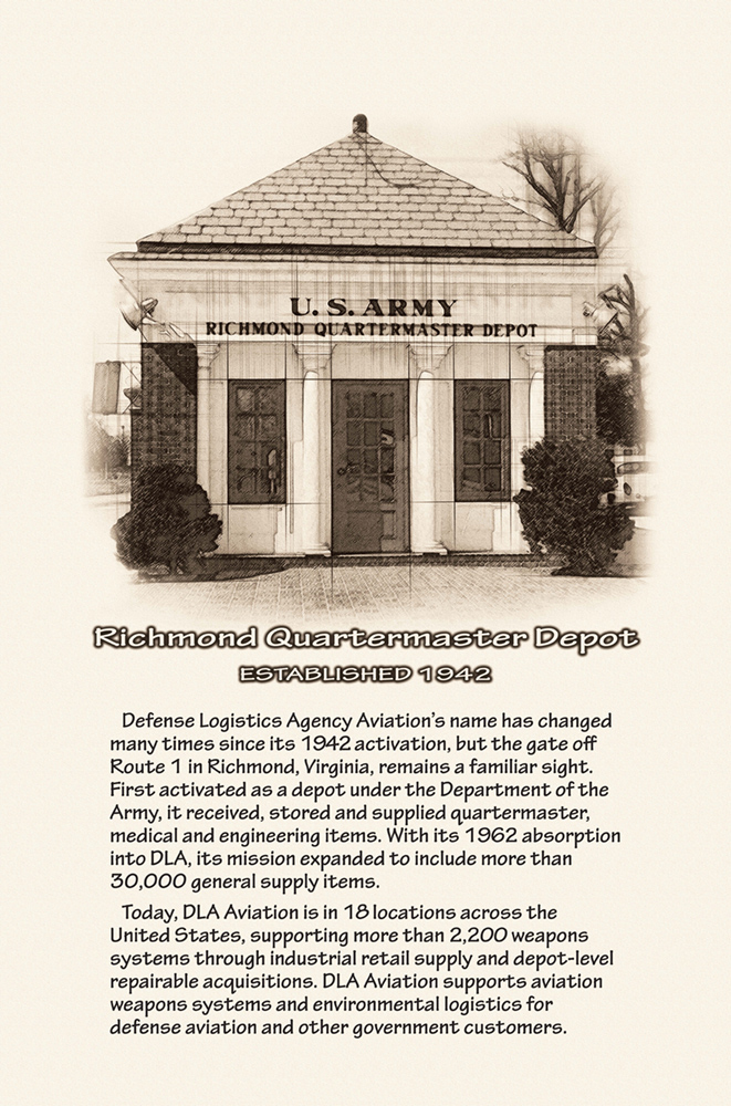 Historic photo of DLA Avaition's headquarters with summary text below