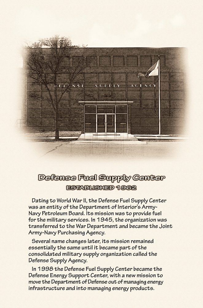 Historic photo of DLA Energy headquarters with summary text below