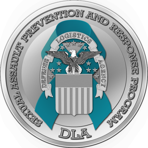 DLA SAPRP Logo: Teal Support Ribbon behind the DLA Seal surrounded by text reading Sexual Assault Prevention and Response Program