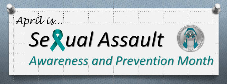 Graphic with DLA SAPR Logo stating that April is Sexual Assault Awareness and Prevention Month