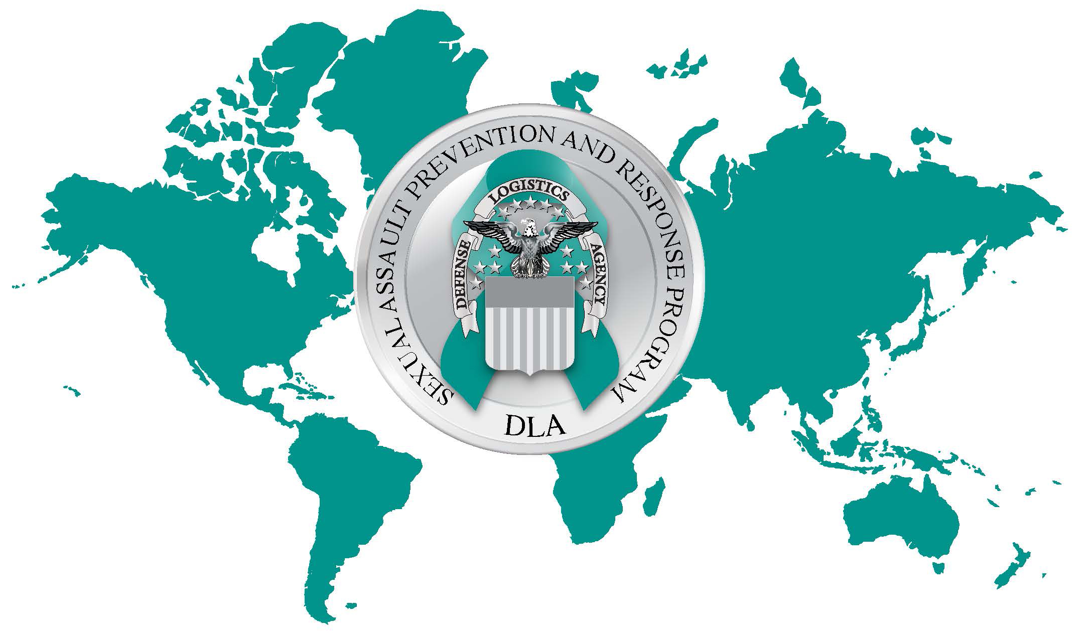 DLA SAPR emblem with teal world map