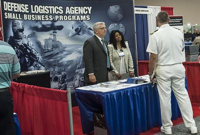Jim Seacrist and Donna Brino-Blackwell in DLA Small Business Booth