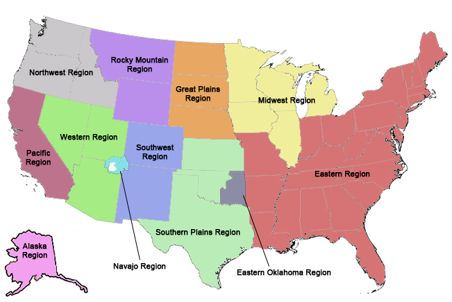 A map of the Bureau of Indian Affairs regions
