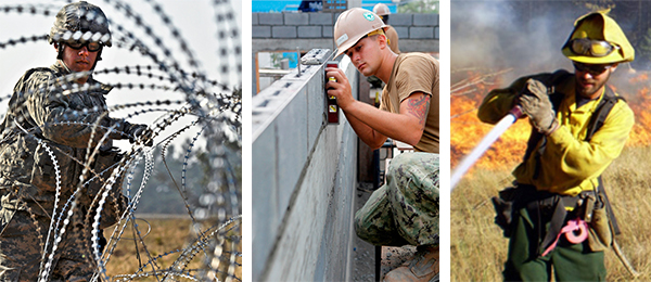 A collage of images of fencing wire, wall construction and firefighting