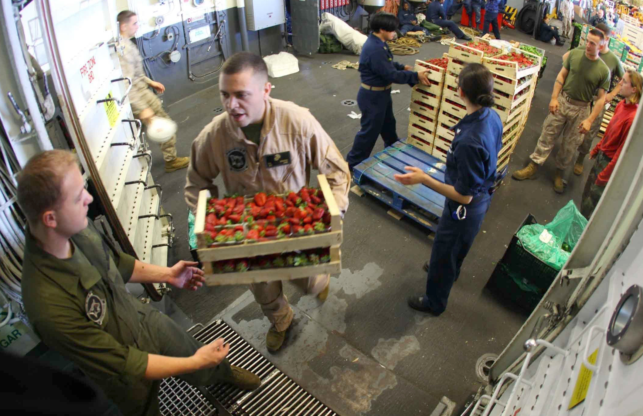 Unloading fresh fruit and vegetable